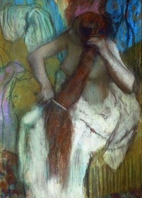 Edgar Degas: Femme se paignant-Junge Frau beim Kämmen der Haare. Gemälde