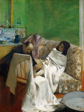 Edgar Degas: Die Pediküre. Papier auf Leinwand.  61 x 46 cm