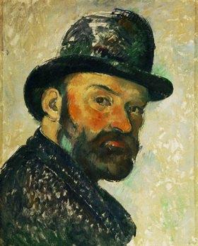 Paul Cézanne: Cezanne au chapeau melon-Paul Cezanne mit Hut, Selbstportrait. Gemälde