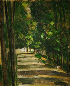 Paul Cézanne: Die Allee. (Park of Chantilly).   Um  1879.  Gemälde. 73,5 x 50,5 cm