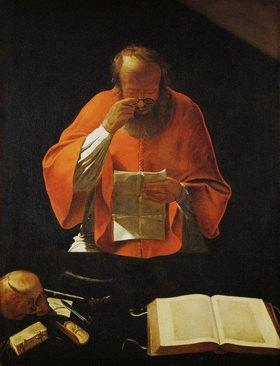 Saint Jerome lisant - Saint Hieronymus, lesend. Gemälde. Kopie des verlorenen Originals