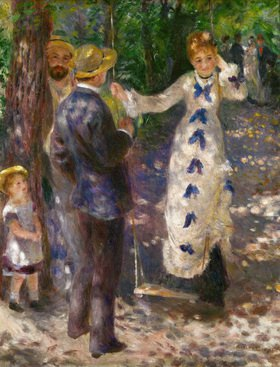 Junge Dame auf der Schaukel. Öl auf Lw. 1876, 92 x 73 cm