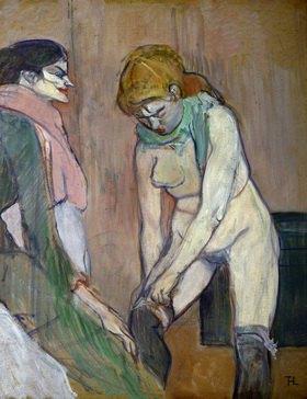 Femme tirant son bas - Frauen beim anziehen ihrer Strümpfe