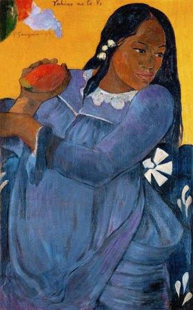 Vahine no te vi. Frau in blauem Kleid mit Mango
