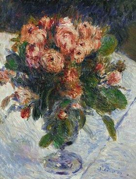 Rote Rosen um  1890, 35,5 x 27 cm