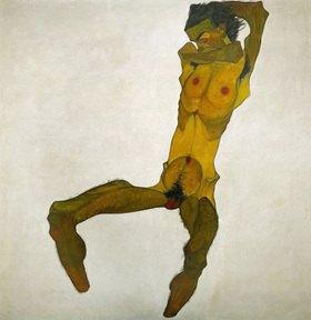 Selbstportrait, Kohle, Wasserfarben und Deckfarben auf Papier 1910, 44 x 30,5 cm