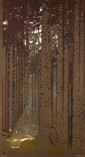 Sonne im Wald, Spraytechnik auf schwarzem Papier 1905-1906, 57,7 x 32,5 cm