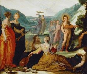 Apollo, Pallas und die Musen; aus der Sammlung von Kaiser Rudolf II. Marmor, 37 x 49 cm