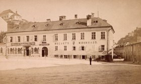 Ansicht von Mozarts Wohnhaus. Salzbug. Österreich. Photographie
