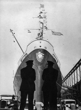 Dampfschiff Europa im Hafen von New York. Amerika. Photographie