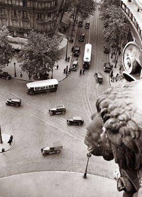 Blick von oben auf den Place de la Bastille. Paris. Photographie