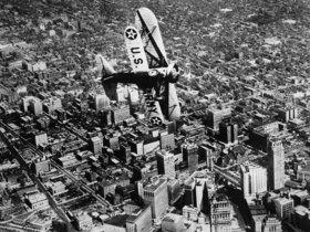Flugzeug über Detroit. Photographie