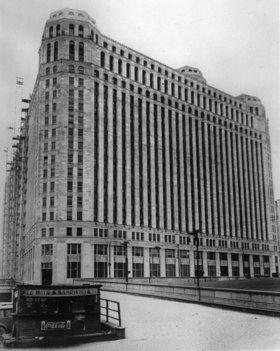 Große und kleine Unternehmen in Chicago. Photographie