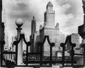 Die Skyline von Chicago von der La Salle Brücke aus gesehen. Photographie