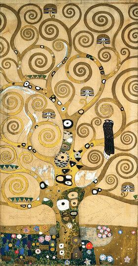 Gustav Klimt: Der Lebensbaum, Detail. Mischtechnik
