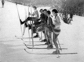 Schifahrer in St. Moritz, Schweiz
