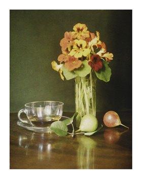 Franz Kaiser: Autochrome um 1908, Stillleben mit Blumen, Birnen und Teetasse