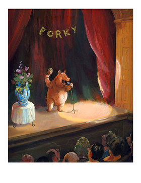 Rudi Hurzlmeier: Porky, die Rampensau. Karikatur von Rudi Hurzlmeier