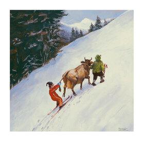 Rudi Hurzlmeier: Schnee, Skifahren, Skilift, Cartoon, Berge, Kuh, Bauer