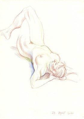 Reinhard Michl: Zeichnung, liegender Akt