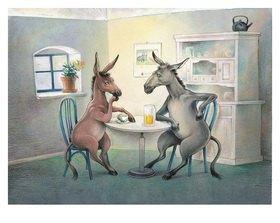 Reinhard Michl: Die beiden Esel, Illustration zu einem Gedicht von Christian Morgenstern