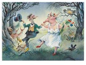 Reinhard Michl: Der Nachtschelm und das Siebenschwein oder eine glückliche Ehe, Illustration zu einem Gedicht von Christian Morgenstern