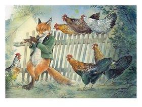 Reinhard Michl: Der Fuchs und die Hühner, Illustration zu einem Gedicht von Christian Morgenstern