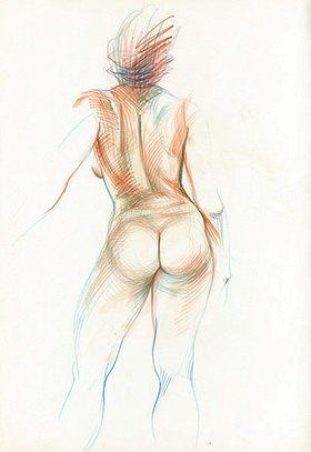 Reinhard Michl: Zeichnung, Rückenakt Miriam