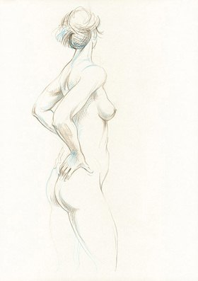 Reinhard Michl: Zeichnung, Akt Michaela