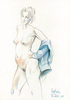Reinhard Michl: Zeichnung, Akt Sylvia