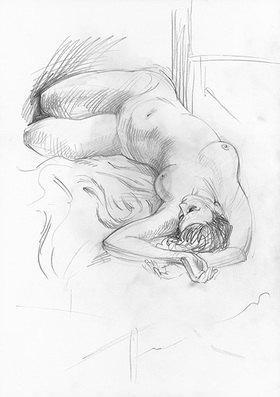 Reinhard Michl: Zeichnung, Akt liegend