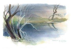 Reinhard Michl: Altwasser im Naabtal, Aquarell