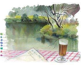 Reinhard Michl: Ein Tag am Fluß, Skizzen im Naabtal, Aquarell