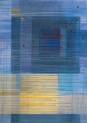 Tanja Leodolter: Die drei Grundfarben, Mischtechnik auf Leinwand 105 x 150 cm