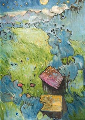 Tanja Leodolter: Gute Nacht, Öl auf Leinwand 100 x 140 cm