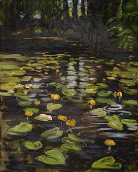 Tanja Leodolter: Seerosen 2, Öl auf Leinwand 80 x 100 cm