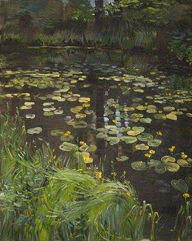 Tanja Leodolter: Seerosen 1, Öl auf Leinwand 80 x 100 cm