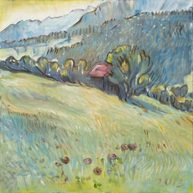 Tanja Leodolter: Bad Hindelang, Öl auf Leinwand 80 x 80 cm