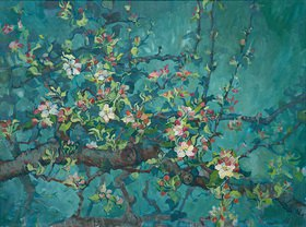 Tanja Leodolter: Apfelblüte 08, Öl auf leinwand 60 x 80 cm
