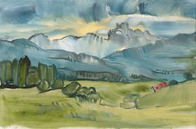 Tanja Leodolter: Klammspitze, Öl auf Papier 32 x 50 cm