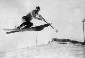 Davos, Schweiz, Skifahrer Lord Knebworth, Quersprung