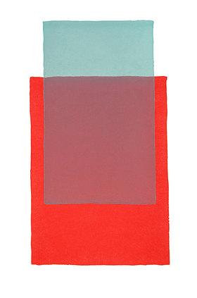 Werner Maier: Abstraktes Aquarell Rot und Grün