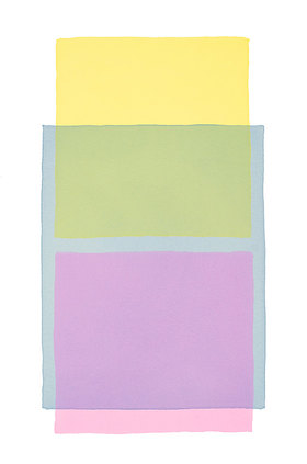 Werner Maier: Abstraktes Aquarell Gelb Blau Pink
