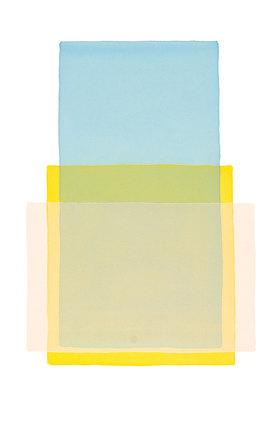Werner Maier: Abstraktes Aquarell Blau Gelb Rosa - Original