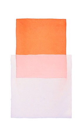 Werner Maier: Abstraktes Aquarell Orange Hellblau