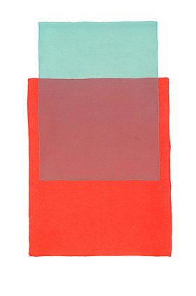 Werner Maier: Abstraktes Aquarell Blau Rot