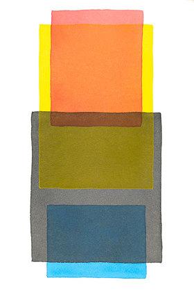 Werner Maier: Abstraktes Aquarell Rot Gelb Grau Blau