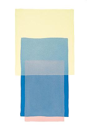Werner Maier: Abstraktes Aquarell Gelb Blau Rosa - Original