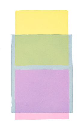 Werner Maier: Abstraktes Aquarell Gelb Blau Pink - Original