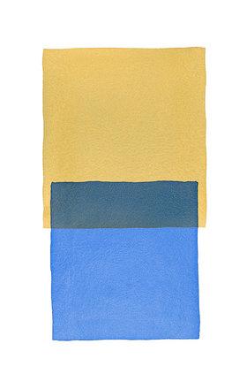Werner Maier: Abstraktes Aquarell Ocker Blau - Original